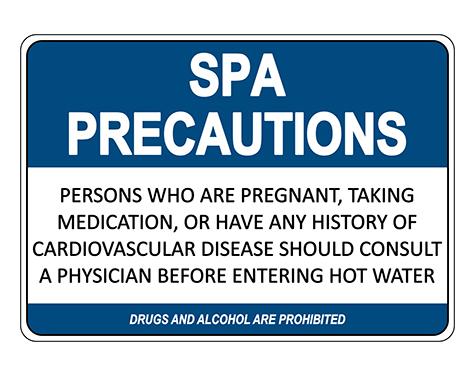 Spa Precautions Sign